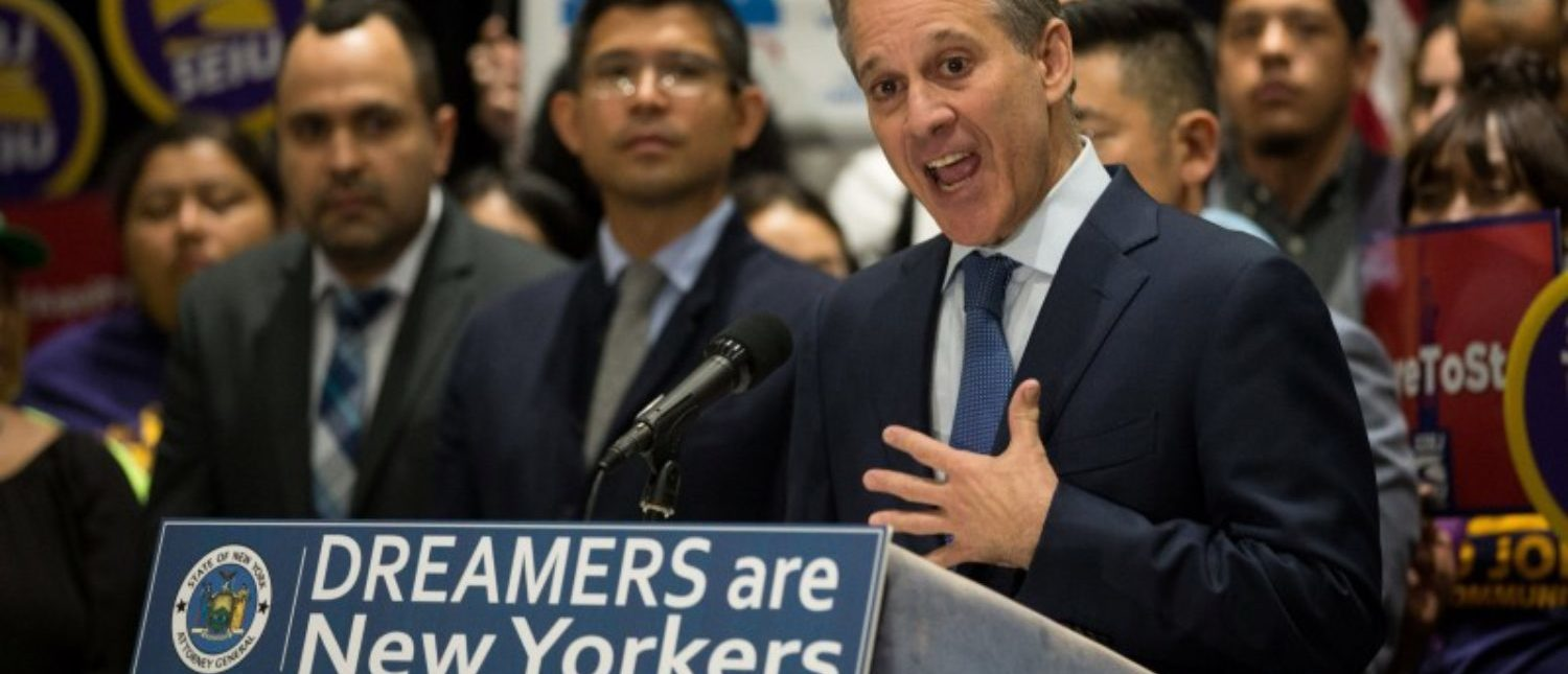 New York Attorney General Eric T. Schneiderman announces the filing of a multistate lawsuit to protect Deferred Action for Childhood Arrivals (DACA) recipients at a news conference at John Jay College in New York City, U.S., September 6, 2017. REUTERS/Joe Penney