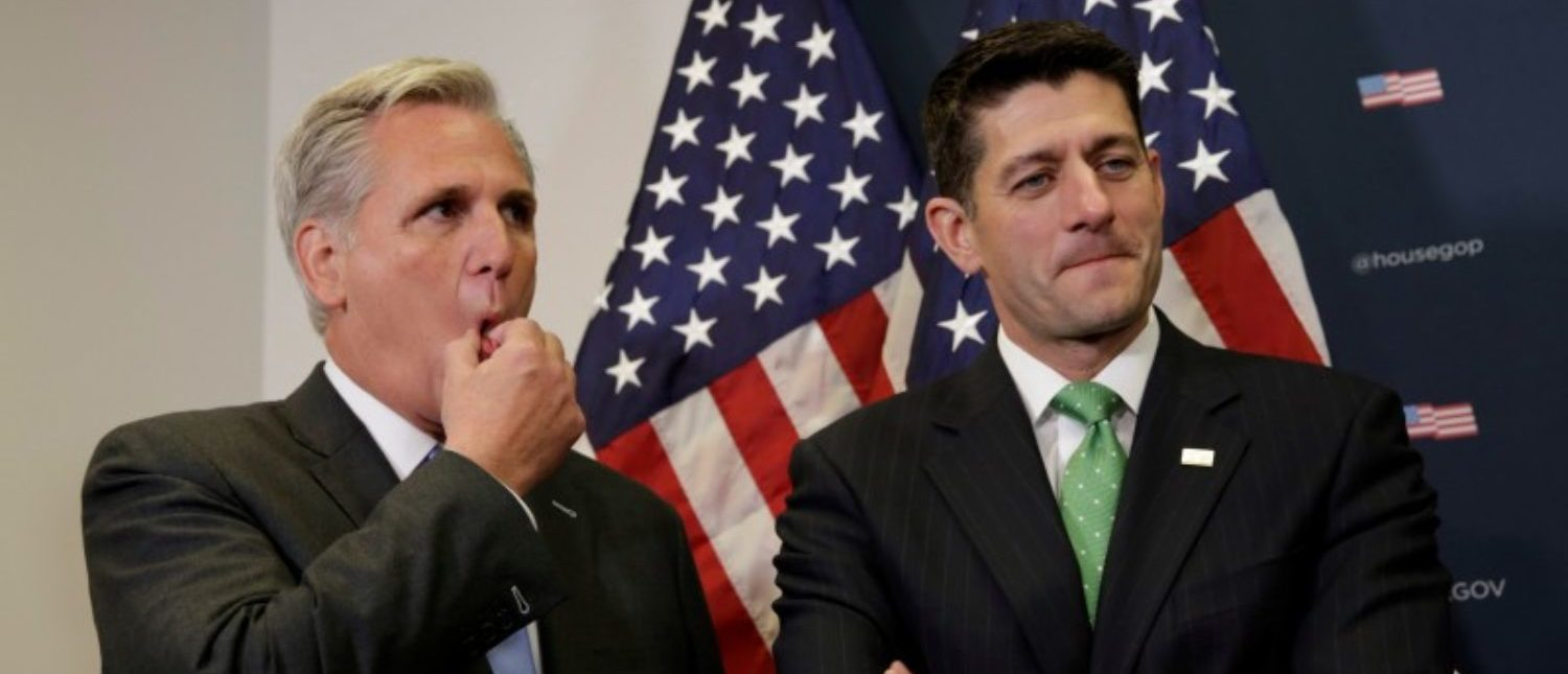 Speaker of the House Paul Ryan (R-WI) and House Majority Leader Kevin McCarthy (R-CA) (L) attend a news conference after a closed conference meeting on Capitol Hill in Washington, U.S., September 13, 2017. REUTERS/Yuri Gripas