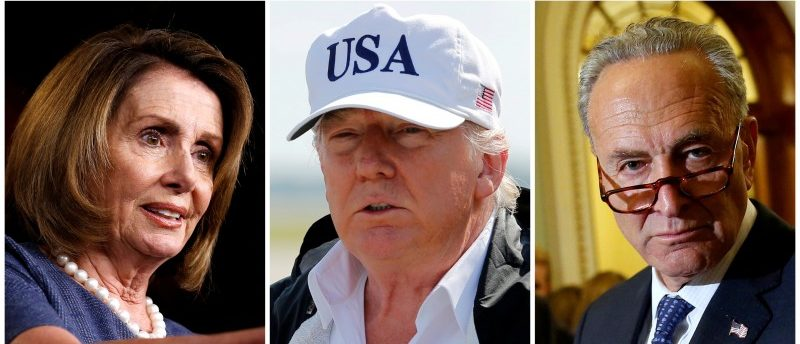 FILE PHOTO: A combination photo shows L-R, House Minority Leader Nancy Pelosi (D-CA), U.S. President Donald Trump and Senate Minority Leader Chuck Schumer (D-NY) in Washington, DC, aboard Air Force One and in Washington, DC, U.S. in September 2017. REUTERS/File Photos/File Photo