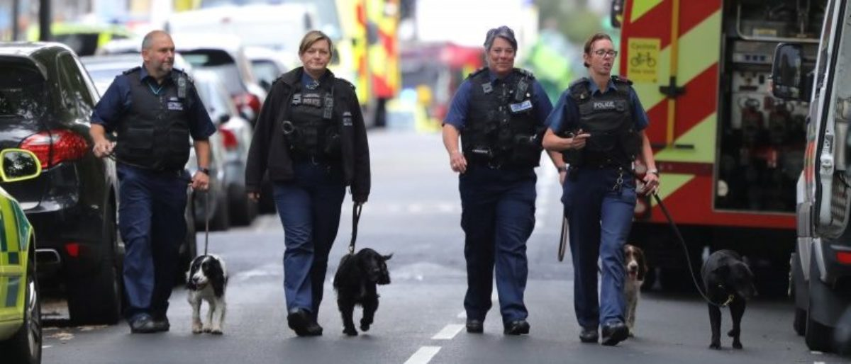 Police officers walk with dogs after an incident at Parsons Green underground station in London, Britain, September 15, 2017. REUTERS/Luke MacGregor