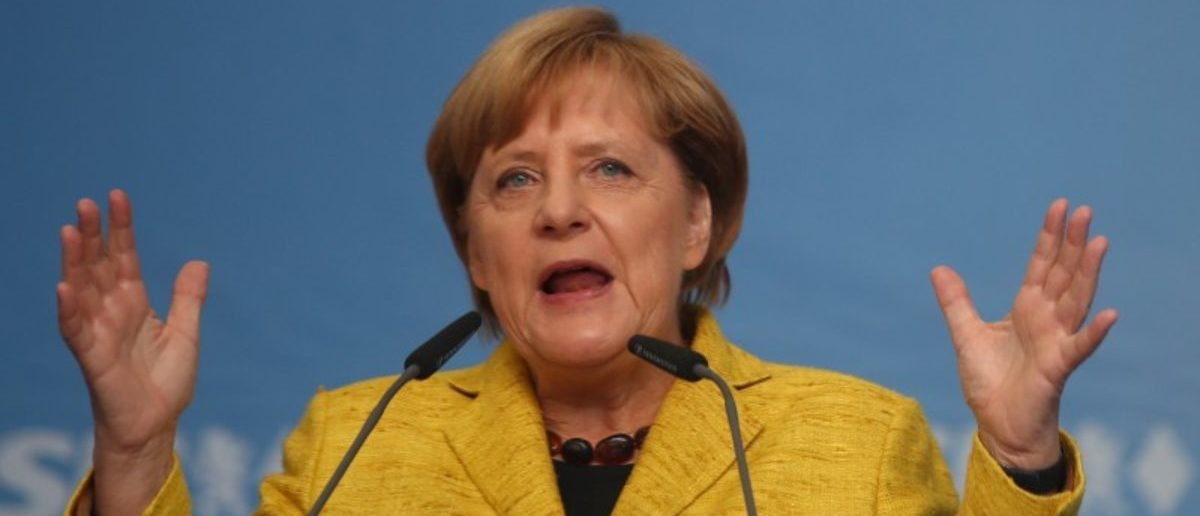German Chancellor Angela Merkel, top candidate of the CDU for the upcoming general elections, speaks during an election rally in Regensburg