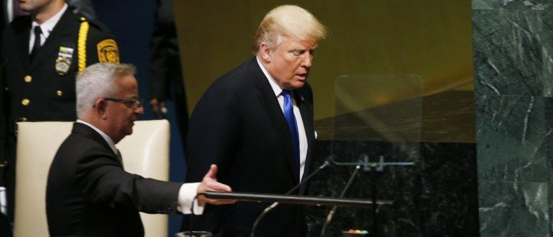 U.S. President Donald Trump (R) arrives to address the 72nd United Nations General Assembly at U.N. headquarters in New York, U.S., September 19, 2017.