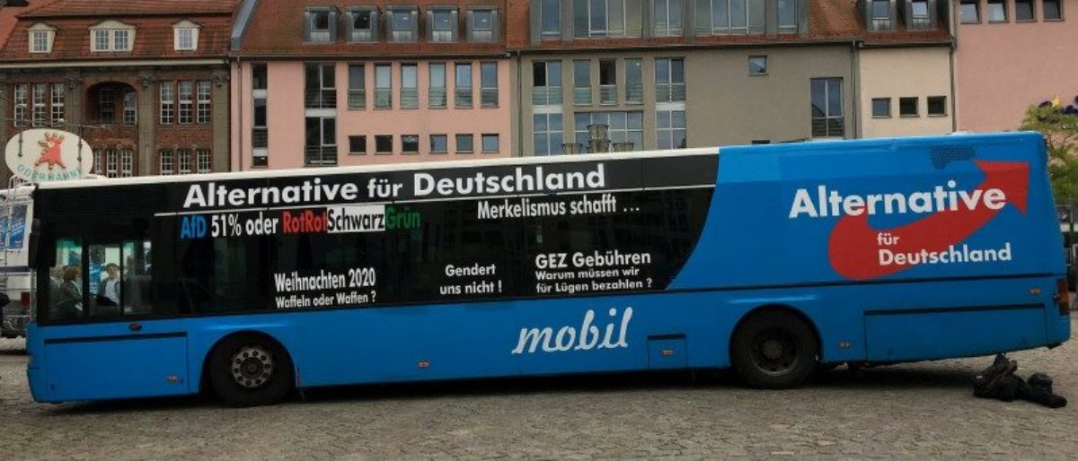 Election campaign bus of Germany's far-right Alternative for Deutschland (AfD) in Frankfurt Oder, Germany, September 11, 2017. REUTERS/Michelle Martin