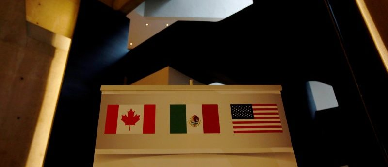 A NAFTA banner is pictured where the second round of NAFTA talks involving the United States, Mexico and Canada is taking place in Mexico City, Mexico September 1, 2017. REUTERS/Carlos Jasso