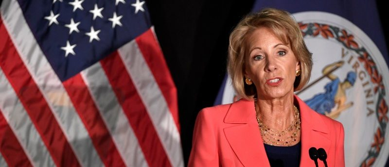 FILE PHOTO: Education Secretary Betsy DeVos makes remarks during a major policy address on Title IX enforcement, which in college covers sexual harassment, rape and assault, at George Mason University, in Arlington, Virginia, U.S., September 7, 2017. REUTERS/Mike Theiler