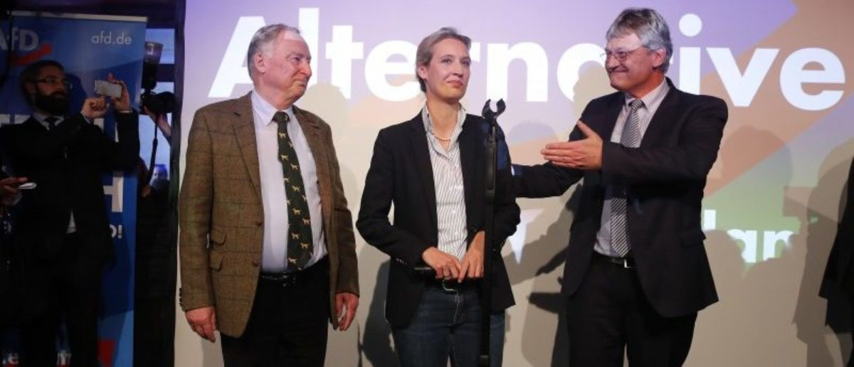 Joerg Meuthen (R), leader of the anti-immigration party Alternative fuer Deutschland (AfD) reacts next to top candidates Alice Weidel and Alexander Gauland (L) after first exit polls in the German general election (Bundestagswahl) in Berlin, Germany, September 24, 2017. REUTERS/Wolfgang Rattay