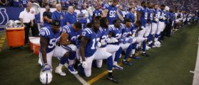 Indianapolis Colts players kneel during the anthem, September 24, 2017. Mandatory Credit: Brian Spurlock-USA TODAY Sports
