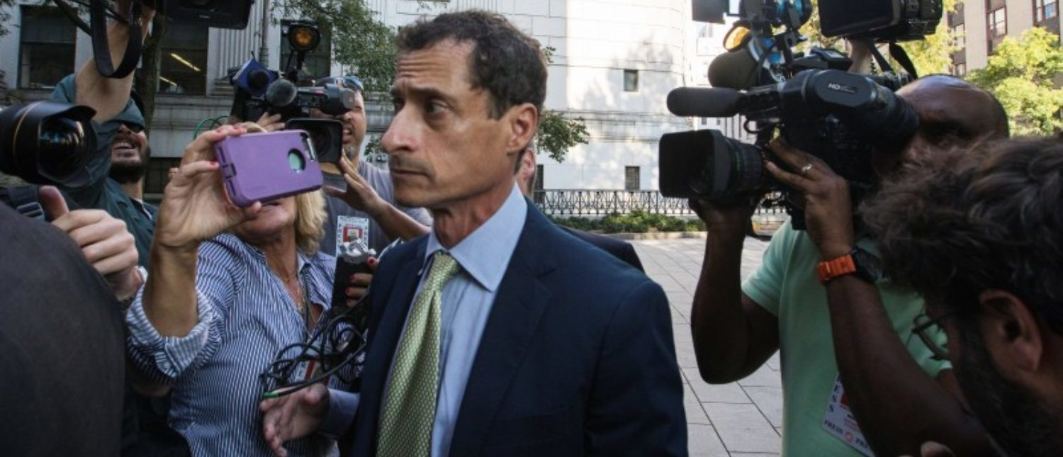 "Former U.S. Congressman Anthony Weiner arrives at U.S. Federal Court for sentencing after pleading guilty to one count of sending obscene messages to a minor, ending an investigation into a ""sexting"" scandal that played a role in last year's U.S. presidential election, in New York, U.S.,September 25, 2017. REUTERS/Lucas Jackson"