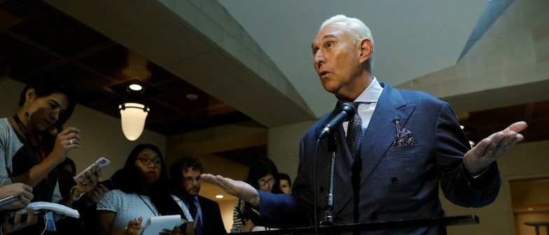 U.S. political consultant Roger Stone, a longtime ally of President Donald Trump, speaks to reporters after appearing before a closed House Intelligence Committee investigating Russian interference in the 2016 U.S. presidential election at the U.S. Capitol in Washington, U.S., September 26, 2017. REUTERS/Kevin Lamarque