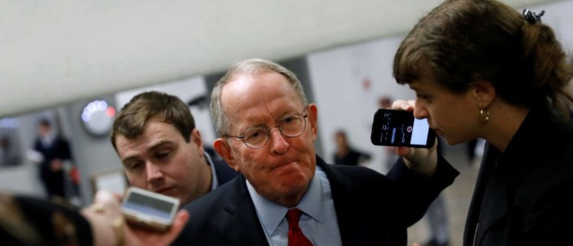 Sen. Lamar Alexander (R-TN) speaks with reporters ahead of the party luncheons on Capitol Hill in Washington, U.S., September 19, 2017. REUTERS/Aaron P. Bernstein