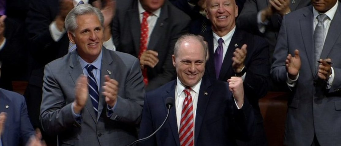 U.S. Rep Steve Scalise is applauded as he arrives in the U.S. House chamber after returning to Congress in Washington