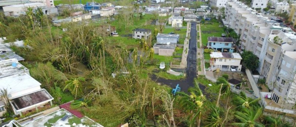 An aerial photo shows damage caused by Hurricane Maria in San Juan, Puerto Rico, September 27, 2017. Picture taken September 27, 2017. REUTERS/DroneBase