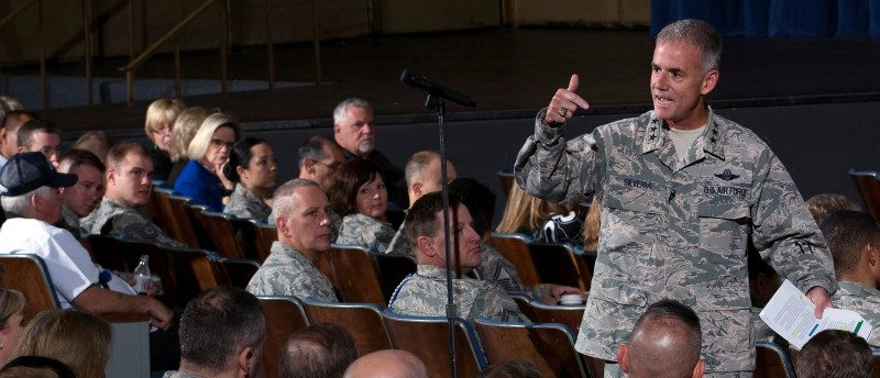 Lt. Gen. Jay Silveria, superintendent of the U.S. Air Force Academy, discusses his goals and priorities to an audience of Total Force Airmen at the United States Air Force Academy in Colorado, U.S. on August 17, 2017. Courtesy Mike Kaplan/U.S. Air Force/Handout via REUTERS