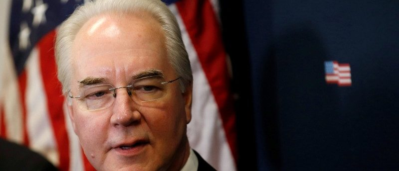 U.S. Health and Human Services Secretary Tom Price speaks about efforts to repeal and replace Obamacare and the advancement of the American Health Care Act on Capitol Hill in Washington, U.S., March 17, 2017.  REUTERS/Joshua Roberts