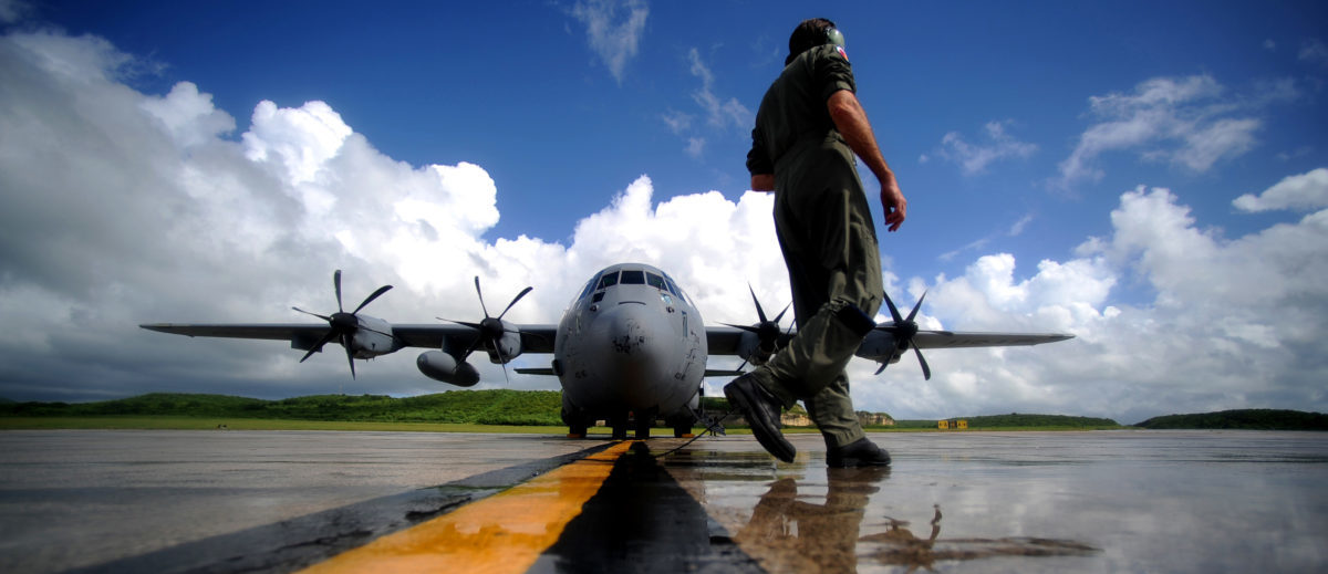 U.S. Air Force Master Sgt. Levi Denham, a WC-130J Hercules aircraft weather reconnaissance loadmaster assigned to the 53rd Reconnaissance Squadron, performs pre-engine start-up inspections in St. Croix, Virgin Islands, on Sept. 16, 2010. Known as Hurricane Hunters the 53rd Weather Reconnaissance Squadron's mission is to provide surveillance of tropical storms and hurricanes in the Atlantic Ocean, the Caribbean Sea, the Gulf of Mexico and the central Pacific Ocean for the National Hurricane Center in Miami. DoD photo by Staff Sgt. Manuel J. Martinez, U.S. Air Force. (Released) U.S. Air Force Master Sgt. Levi Denham, a WC-130J Hercules aircraft weather reconnaissance loadmaster assigned to the 53rd Reconnaissance Squadron, performs pre-engine start-up inspections in St. Croix, Virgin Islands, on Sept. 16, 2010. Known as Hurricane Hunters the 53rd Weather Reconnaissance Squadron's mission is to provide surveillance of tropical storms and hurricanes in the Atlantic Ocean, the Caribbean Sea, the Gulf of Mexico and the central Pacific Ocean for the National Hurricane Center in Miami. (U.S. Air Force photo by Staff Sgt. Manuel J. Martinez)