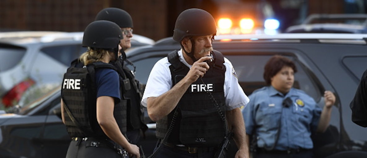 DENVER, CO - SEPTEMBER 16: Denver police responded to a report of an active shooter at Rose Medical Center in Denver on Sept. 16, 2016. (Andy Cross/The Denver Post via Getty Images)