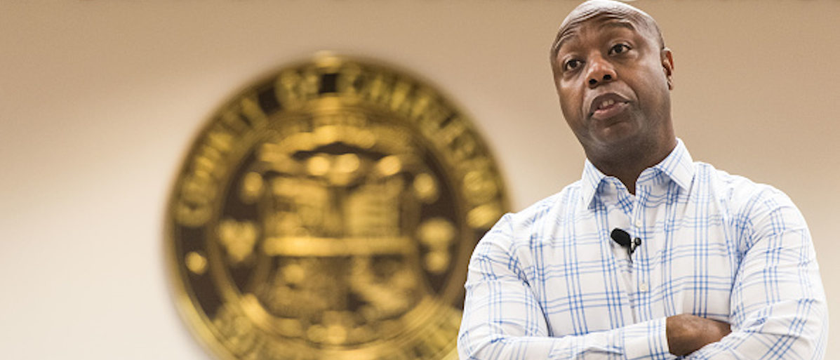 NORTH CHARLESTON, SC - FEBRUARY 25: Sen. Tim Scott (R-SC) addresses a crowd at a town hall meeting at the Charleston County Council Chambers on February 25, 2017 in North Charleston, South Carolina. Protestors have been showing up in large numbers to congressional town hall meetings across the nation. (Photo by Sean Rayford/Getty Images)