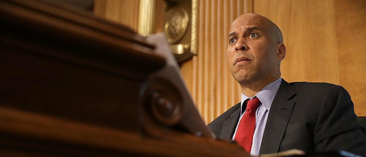 WASHINGTON, DC - APRIL 25:  Senate Foreign Relations Committee member Sen. Cory Booker (D-NJ) participates in a committee hearing about Libya in the Dirksen Senate Office Building on Capitol Hill April 25, 2017 in Washington, DC. Senators heard testimony from country specialists about the thousands of small and large factions that splinter politics and security today in Libya.  (Photo by Chip Somodevilla/Getty Images)