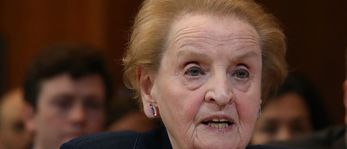 "WASHINGTON, DC - MAY 09: Former Secretary of State Madeline Albright testifies during a Senate Appropriations Committee hearing on Capitol Hill, on May 9, 2017 in Washington, DC. The committee was hearing testimony on ""United States Democracy Assistance."" (Photo by Mark Wilson/Getty Images)"