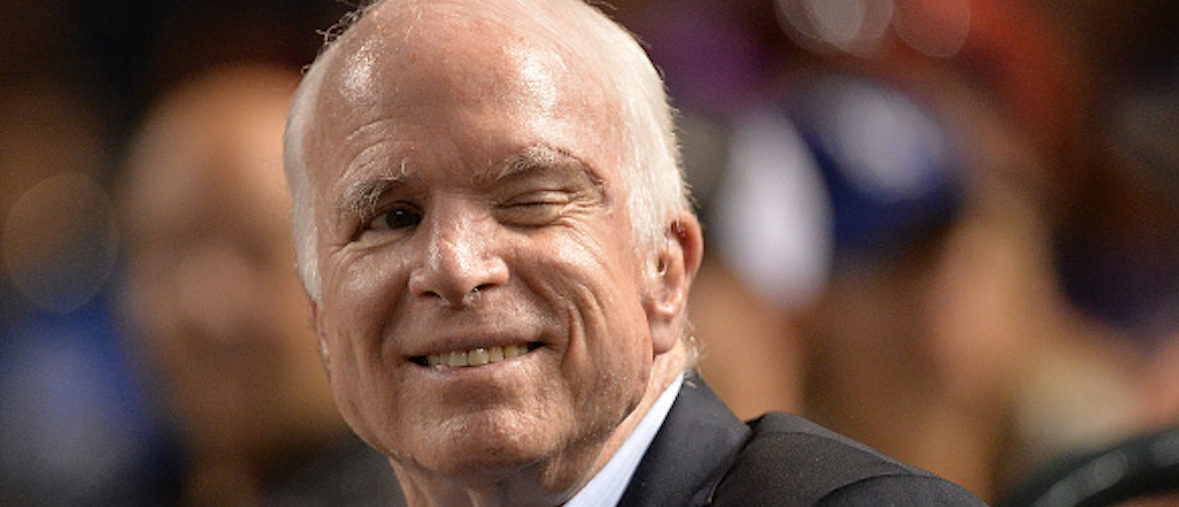 Senator John McCain (R-AZ) winks while attending the MLB game between the Los Angeles Dodgers and Arizona Diamondbacks at Chase Field on August 10, 2017 in Phoenix, Arizona. Jennifer Stewart/Getty Images.