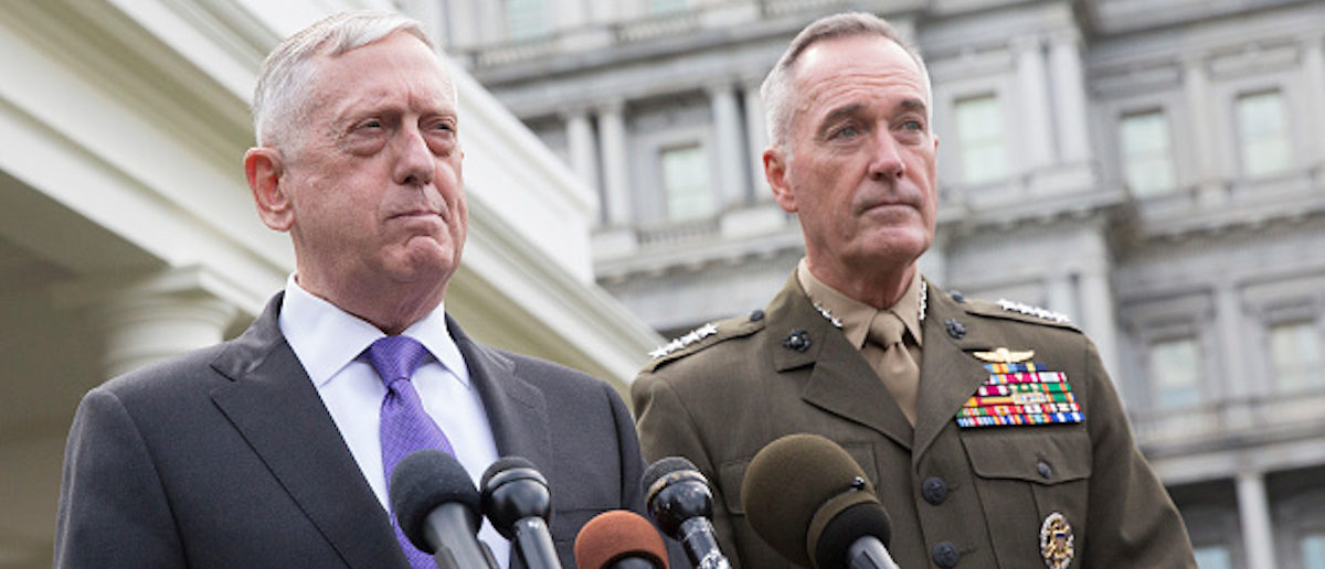 WASHINGTON, DC - SEPTEMBER 03: (AFP OUT) U.S. Secretary of Defense James Mattis (L) makes a statement at the White House on a possible military response to the recent North Korea missile launch, with Chairman of the Joint Chiefs of Staff Joseph Dunford on September 3, 2017 in Washington, DC. (Photo by Chris Kleponis - Pool/Getty Images)