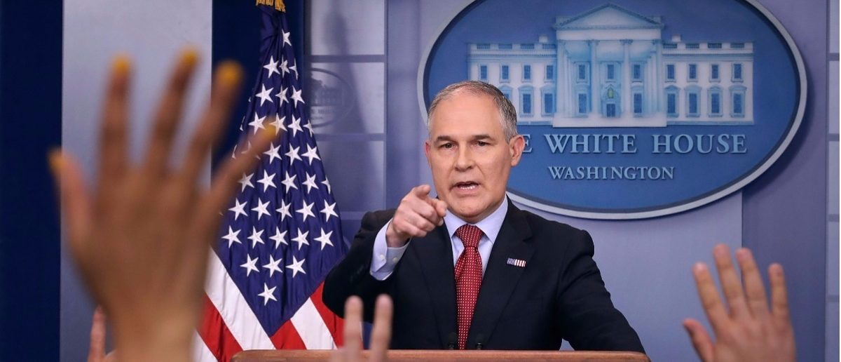 Environmental Protection Agency Administrator Scott Pruitt answers reporters' questions during a briefing at the White House June 2, 2017 in Washington, DC. Pruitt faced a barrage of questions related to President Donald Trump's decision to withdraw the United States from the Paris climate agreement. (Photo by Chip Somodevilla/Getty Images)