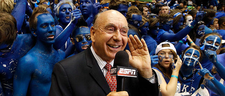DURHAM, NC - MARCH 03: ESPN basketball analyst Dick Vitale reports from the sidelines before the Duke Blue Devils against the North Carolina Tar Heels at Cameron Indoor Stadium on March 3, 2012 in Durham, North Carolina. (Photo by Streeter Lecka/Getty Images)