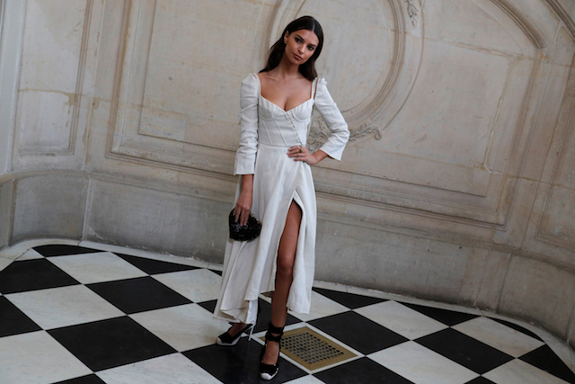 Model Emily Ratajkowski poses during a photocall before the Spring/Summer 2018 women's ready-to-wear collection show for fashion house Dior during Paris Fashion Week, France, September 26, 2017. REUTERS/Philippe Wojazer