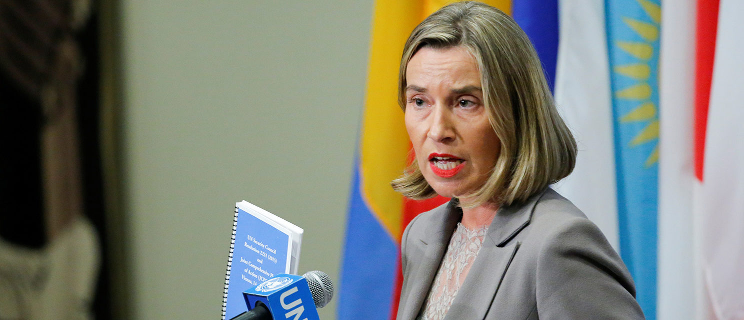 European Union Foreign Affairs Chief Federica Mogherini gives her remarks after attending a meeting of the parties to the Iran nuclear deal during the 72nd United Nations General Assembly at U.N. headquarters in New York, U.S., September 20, 2017. REUTERS/Eduardo Munoz