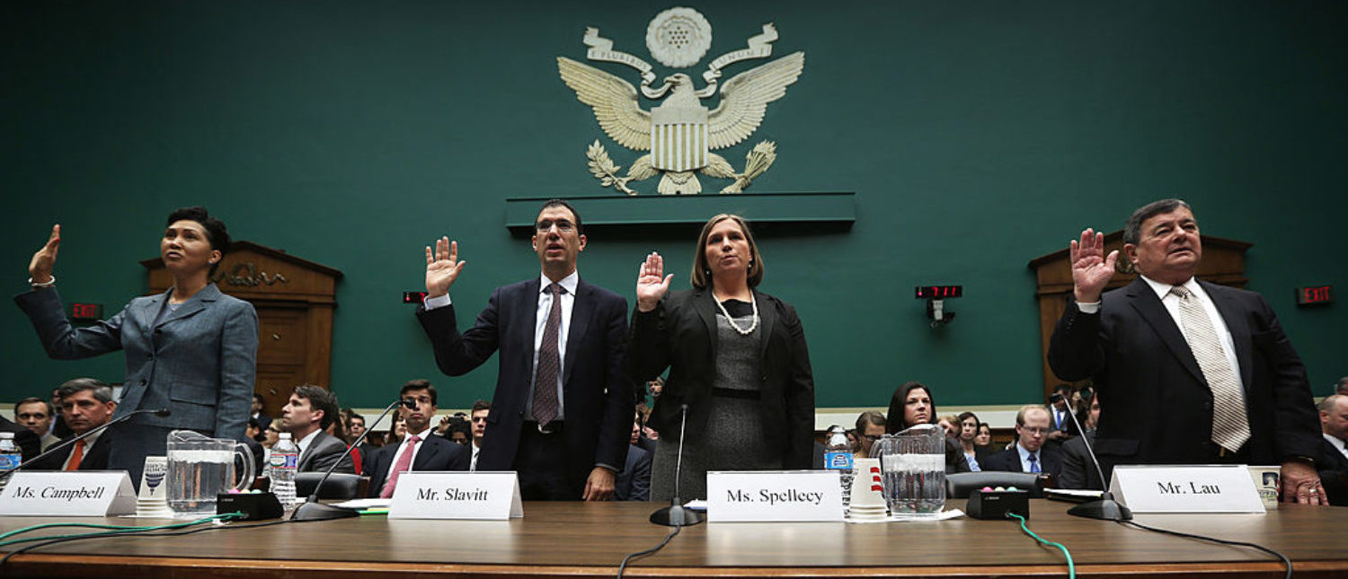 WASHINGTON, DC - OCTOBER 24: (L-R) Senior vice president of CGI Federal Cheryl Campbell, group executive vice president for Optum/QSSI Andrew Slavitt, corporate counsel for Equifax Workforce Solutions Lynn Spellecy, and program director for Serco John Lau are sworn in during a hearing on implementation of the Affordable Care Act before the House Energy and Commerce Committee October 24, 2013 on Capitol Hill in Washington, DC. Developers who helped to build the website for people to buy health insurance under Obamacare testified before the panel on what had gone wrong to cause the technical difficulties in accessing the site. (Photo by Alex Wong/Getty Images)