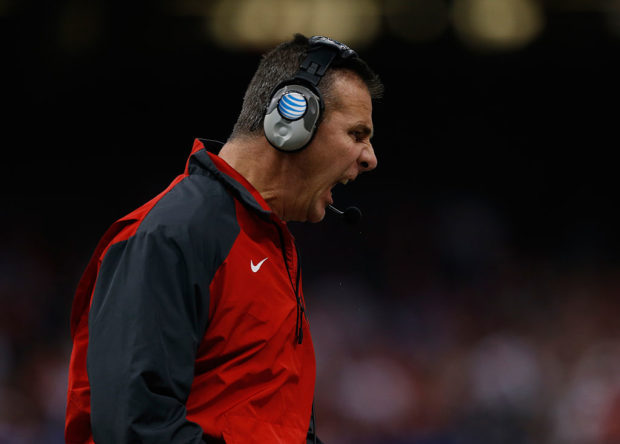 NEW ORLEANS, LA - JANUARY 01: Head coach Urban Meyer of the Ohio State Buckeyes shouts on the sidelines against the Alabama Crimson Tide during the All State Sugar Bowl at the Mercedes-Benz Superdome on January 1, 2015 in New Orleans, Louisiana. (Photo by Sean Gardner/Getty Images)