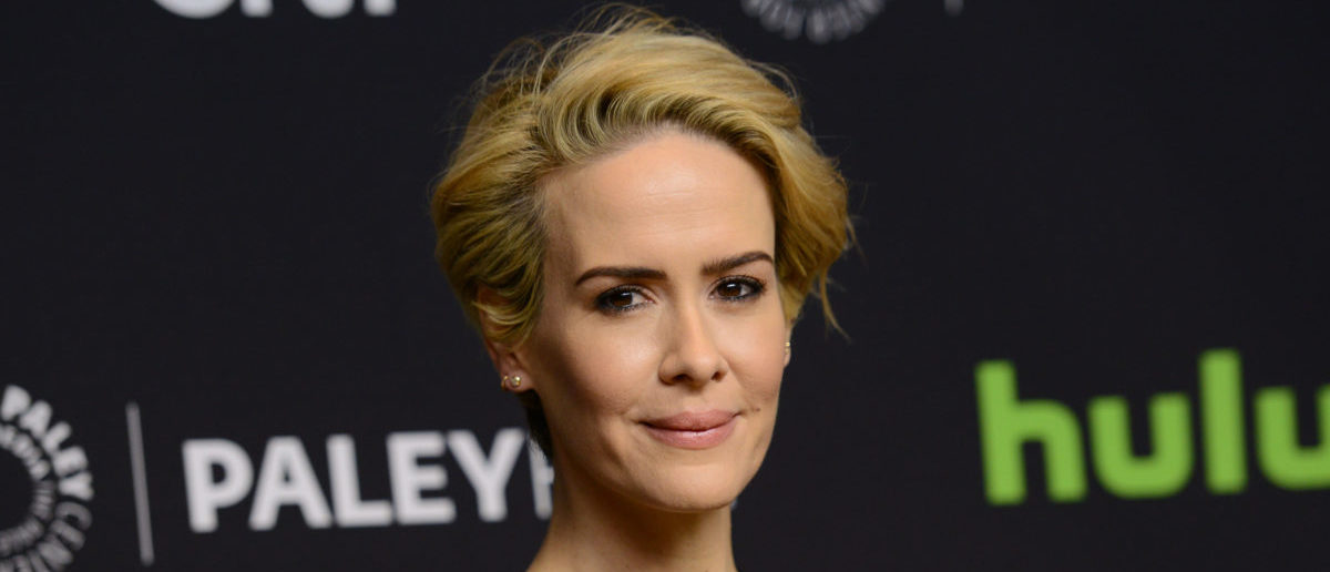 """Sarah Paulson attends the The 33rd annual PaleyFest Los Angeles hosted by The Paley Center for Media, celebrating """"American Horror Story: Hotel"""" in Hollywood, California, on March 20, 2016. (Photo credit should read CHRIS DELMAS/AFP/Getty Images)"""