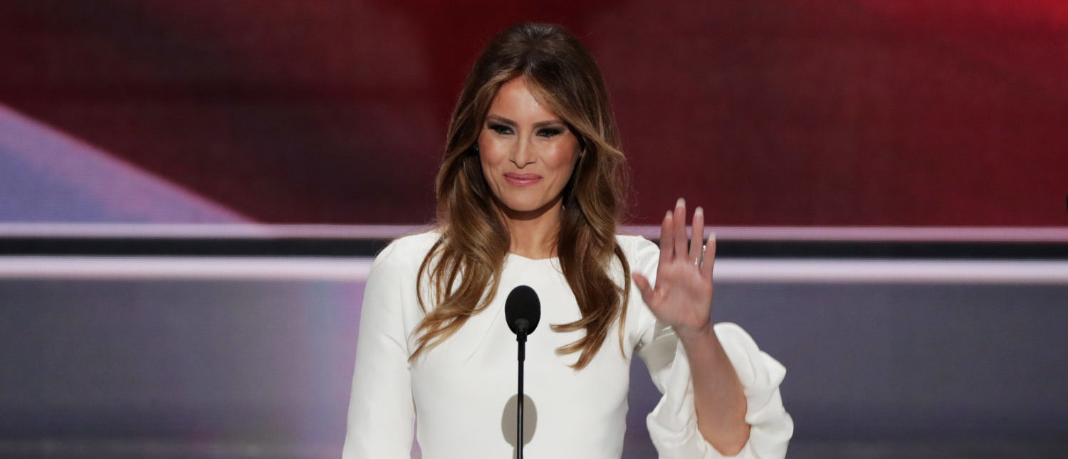 CLEVELAND, OH - JULY 18:  Melania Trump, wife of Presumptive Republican presidential nominee Donald Trump, waves to the crowd after delivering a speech on the first day of the Republican National Convention on July 18, 2016 at the Quicken Loans Arena in Cleveland, Ohio. An estimated 50,000 people are expected in Cleveland, including hundreds of protesters and members of the media. The four-day Republican National Convention kicks off on July 18.  (Photo by Alex Wong/Getty Images)