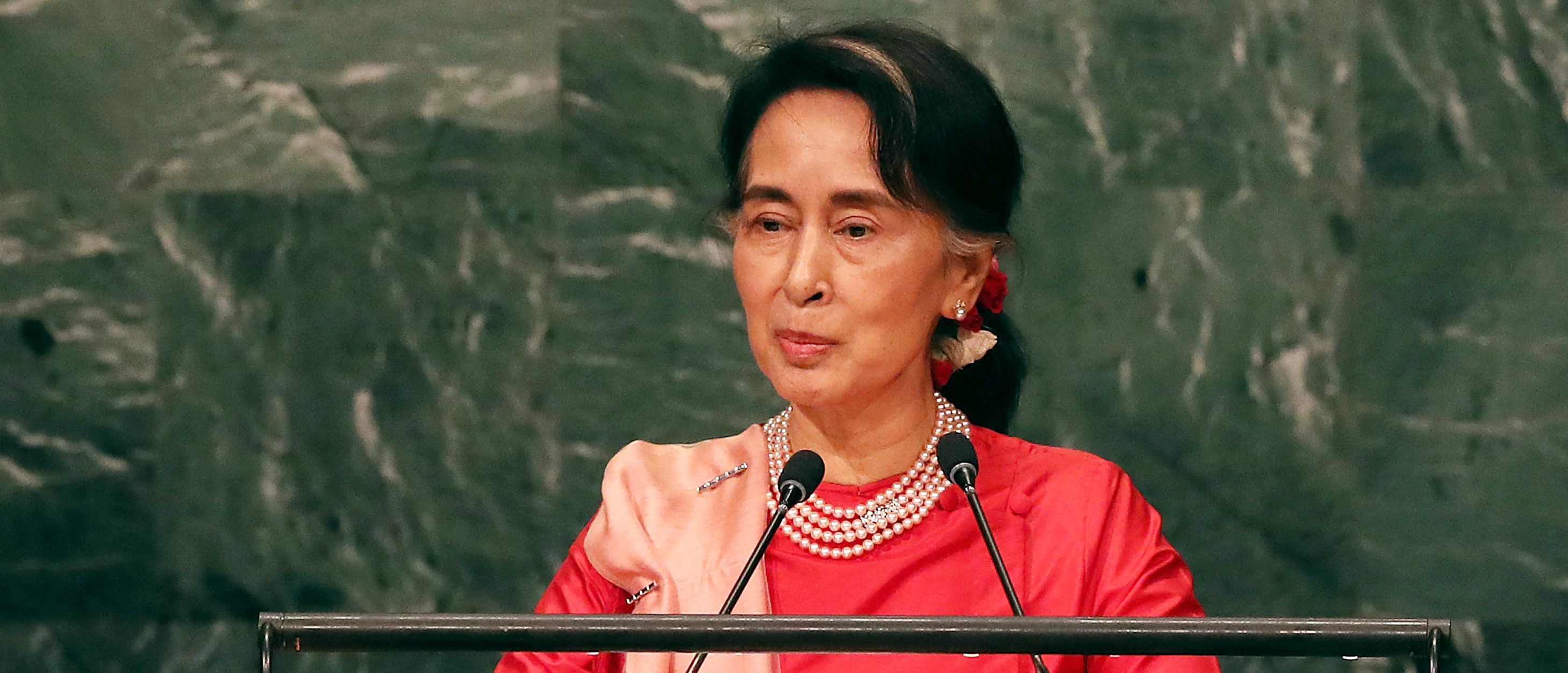 Myanmar leader Aung San Suu Kyi addresses the General Assembly at the United Nations on September 21, 2016 in New York City. Presidents, prime ministers, monarchs and ministers are gathering this week for the United Nation's General Assembly's annual ministerial meeting. (Photo by Spencer Platt/Getty Images)