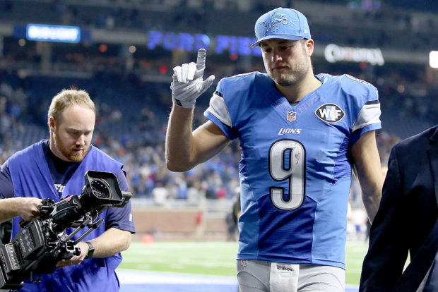 DETROIT, MI - DECEMBER 11: Quarterback Matthew Stafford #9 of the Detroit Lions leaves the field after the Lions defeated the Chicago Bears 20-17. Stafford scored the game winning touchdown in the fourth quarter against the Chicago Bears at Ford Field on December 11, 2016 in Detroit, Michigan. (Photo by Leon Halip/Getty Images)