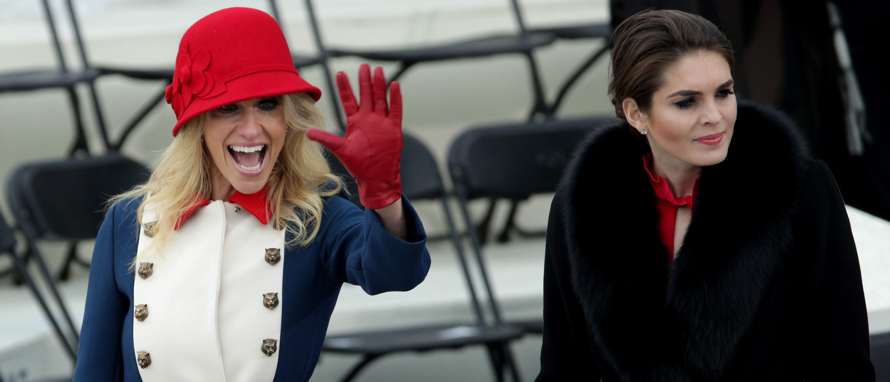 WASHINGTON, DC - JANUARY 20: Trump advisers Kellyanne Conway (L) and Hope Hicks on the West Front of the U.S. Capitol on January 20, 2017 in Washington, DC. In today's inauguration ceremony Donald J. Trump becomes the 45th president of the United States. (Photo by Alex Wong/Getty Images)
