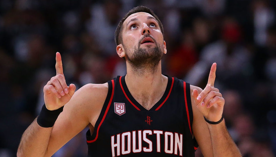 Ryan Anderson #3 of the Houston Rockets reacts against the San Antonio Spurs during Game Two of the NBA Western Conference Semi-Finals at AT&T Center on May 3, 2017 in San Antonio, Texas. NOTE TO USER: User expressly acknowledges and agrees that, by downloading and or using this photograph, User is consenting to the terms and conditions of the Getty Images License Agreement. (Photo by Ronald Martinez/Getty Images)