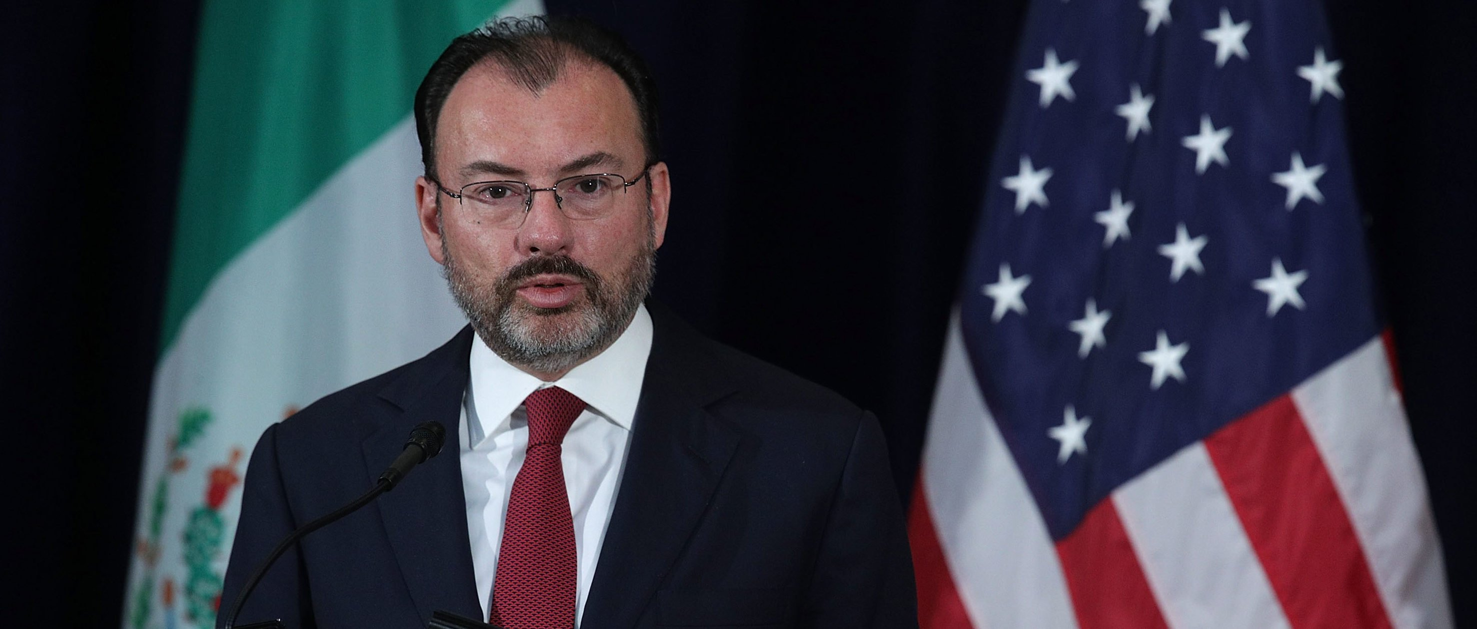 Mexican Foreign Secretary Luis Videgaray participates in a media availability May 18, 2017 at the State Department in Washington, DC. The State Department hosted a Strategic Dialogue on Disrupting Transnational Criminal Organizations. (Photo by Alex Wong/Getty Images)