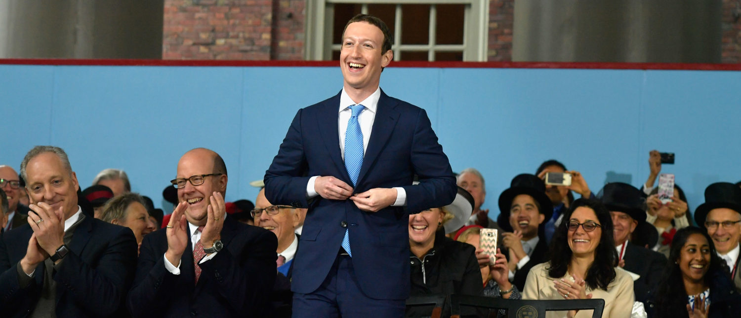 CAMBRIDGE, MA - MAY 25: Facebook Founder and CEO Mark Zuckerberg attends the commencement address at the Alumni Exercises at Harvard's 366th commencement exercises on May 25, 2017 in Cambridge, Massachusetts. Zuckerberg studied computer science at Harvard before leaving to move Facebook to Paolo Alto, CA. He returned to the campus this week to his former dorm room and live streamed his visit. (Photo by Paul Marotta/Getty Images)