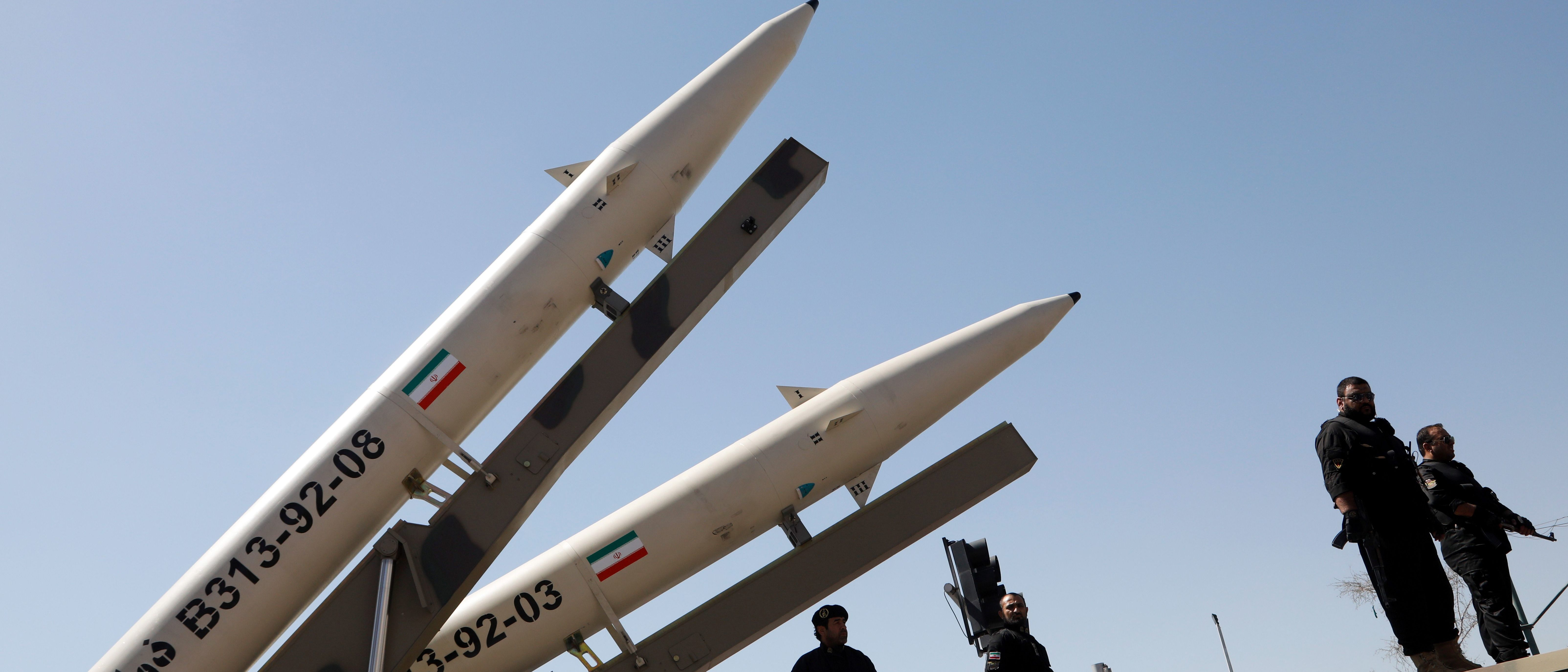 Zolfaghar missiles (R) are displayed during a rally marking al-Quds (Jerusalem) Day in Tehran on June 23, 2017.