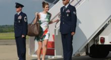 White House Director of Strategic Communications Hope Hicks steps off off Air Force One upon arrival in Morristown, New Jersey on June 30, 2017.  Hicks is travelling with US President Donald Trump who is heading to Bedminster, New Jersey to spend the weekend at his golf club. / AFP PHOTO / MANDEL NGAN        (Photo credit: MANDEL NGAN/AFP/Getty Images)
