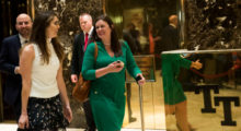 NEW YORK, NY - AUGUST 15: (L to R) Hope Hicks, White House Director of Strategic Communications, and White House Press Secretary Sarah Huckabee Sanders walk through the lobby at Trump Tower, August 15, 2017 in New York City. On Tuesday, President Donald Trump is scheduled to have a meeting on infrastructure issues and deliver a statement to the press following the meeting. (Photo by Drew Angerer/Getty Images)
