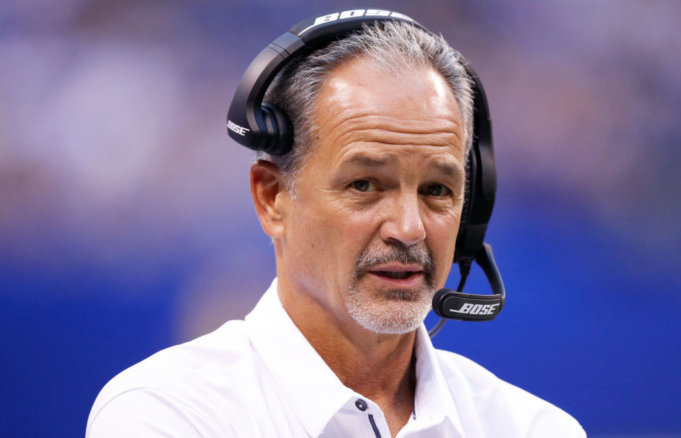 Head coach Chuck Pagano of the Indianapolis Colts looks on in the first half of a preseason game against the Cincinnati Bengals at Lucas Oil Stadium on August 31, 2017 in Indianapolis, Indiana. (Photo by Joe Robbins/Getty Images)