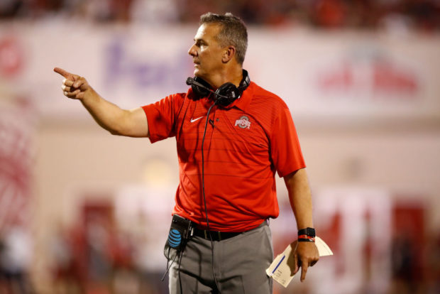 BLOOMINGTON, IN - AUGUST 31: Urban Meyer the head coach of the Ohio State Buckeyes gives instructions to his team during the game against the Indiana Hoosiers at Memorial Stadium on August 31, 2017 in Bloomington, Indiana. (Photo by Andy Lyons/Getty Images)