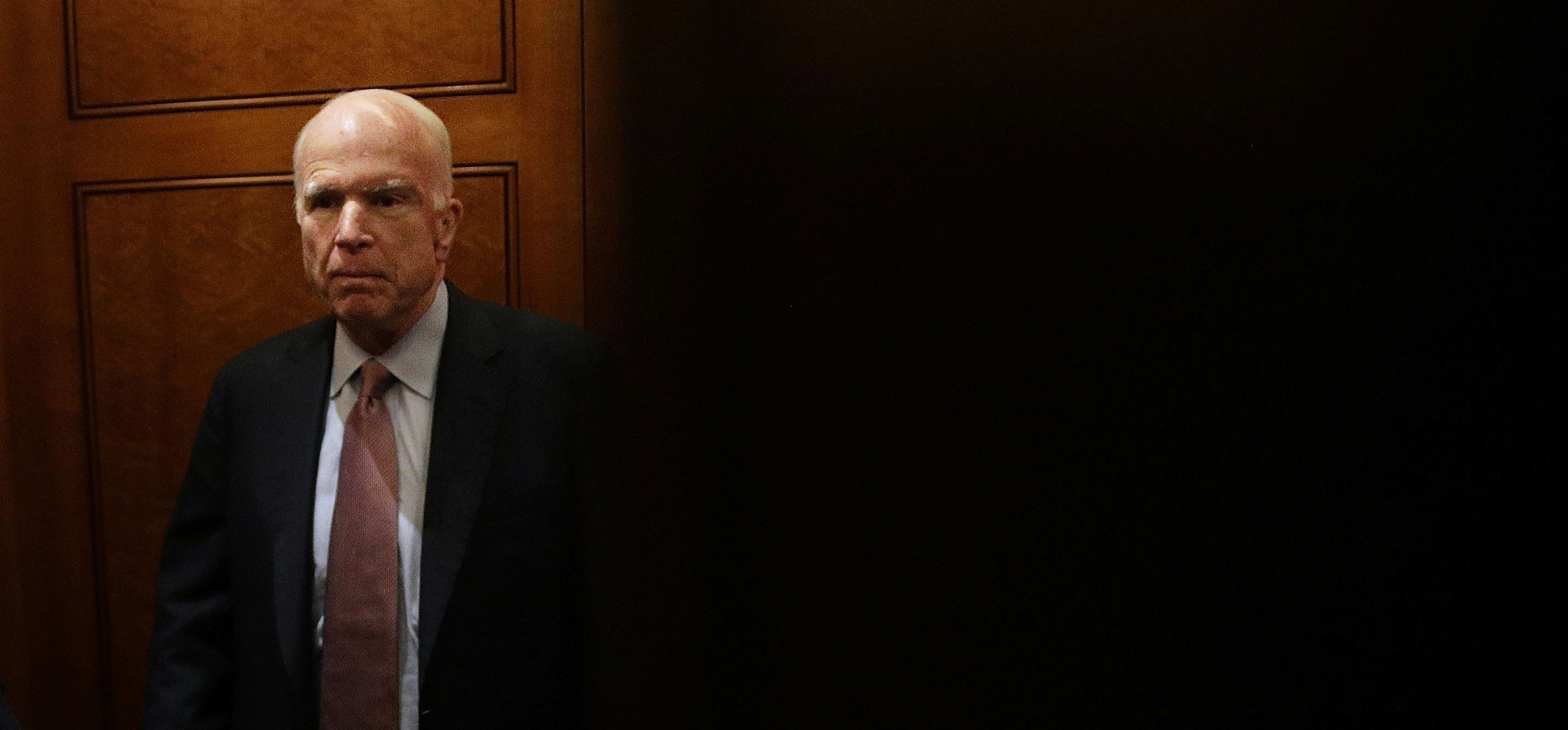WASHINGTON, DC - SEPTEMBER 05: U.S. Sen. John McCain (R-AZ) leaves after a vote at the Capitol September 5, 2017 in Washington, DC. Congress is back from summer recess with a heavy legislative agenda in front of them. (Photo by Alex Wong/Getty Images)