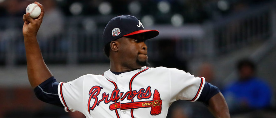 Arodys Vizcaino #38 of the Atlanta Braves pitches in the ninth inning against the Texas Rangers at SunTrust Park on September 6, 2017 in Atlanta, Georgia. (Photo by Kevin C. Cox/Getty Images)