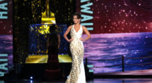 ATLANTIC CITY, NJ - SEPTEMBER 08:  Miss Hawaii 2017 Kathryn Teruya participates in Evening Wear challenge during Miss America 2018 - Third Night of Preliminary Competition at Boardwalk Hall Arena on September 8, 2017 in Atlantic City, New Jersey.  (Photo by Donald Kravitz/Getty Images for Dick Clark Productions)