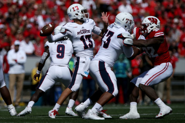 MADISON, WI - SEPTEMBER 09: Daniel Parr #13 of the Florida Atlantic Owls throws a pass in the first quarter against the Wisconsin Badgers at Camp Randall Stadium on September 9, 2017 in Madison, Wisconsin. (Photo by Dylan Buell/Getty Images)