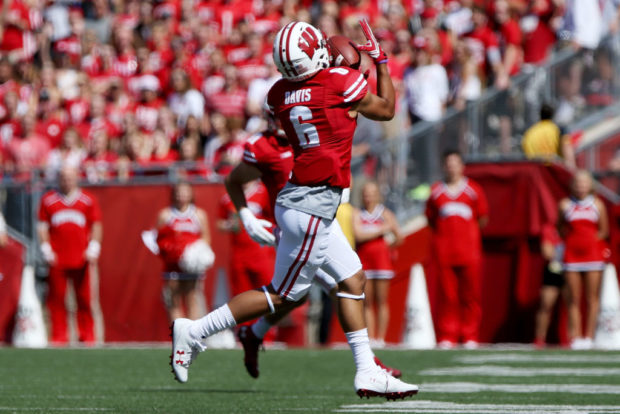 MADISON, WI - SEPTEMBER 09: Danny Davis III #6 of the Wisconsin Badgers makes a catch in the first quarter against the Florida Atlantic Owls at Camp Randall Stadium on September 9, 2017 in Madison, Wisconsin. (Photo by Dylan Buell/Getty Images)