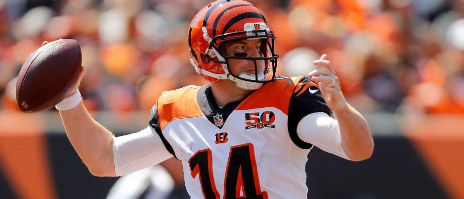 Andy Dalton #14 of the Cincinnati Bengals throws a pass during the second quarter of the game against the Baltimore Ravens at Paul Brown Stadium on September 10, 2017 in Cincinnati, Ohio. (Photo by Michael Reaves/Getty Images)